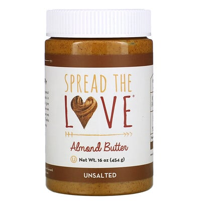 Купить Spread The Love Almond Butter, Unsalted, 16 oz ( 454 g)
