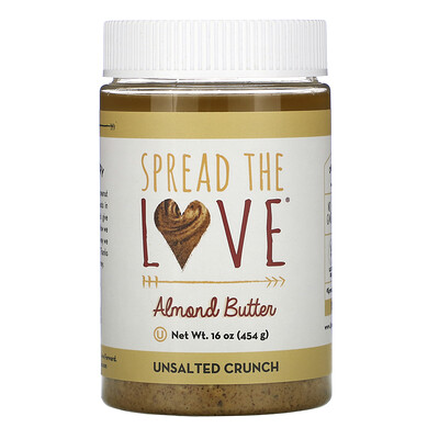 Купить Spread The Love Almond Butter, Unsalted Crunch, 16 oz ( 454 g)