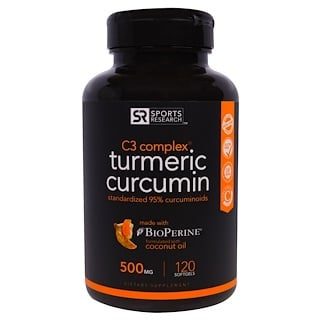 Sports Research, Turmérico Cúrcuma, Complexo C3, 500 mg, 120 Cápsulas de Gel