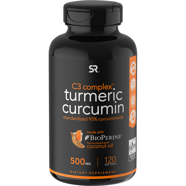 Sports Research, Curcuma Curcumine, C3 Complex, 500 mg, 120 capsules à enveloppe molle