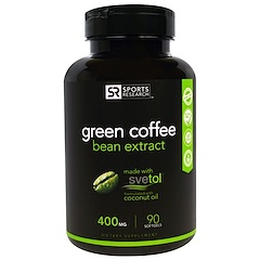 Sports Research, مستخلص حبوب القهوة الخضراء ، 400 ملي جرام، 90  كبسولة جيلاتينية لينة