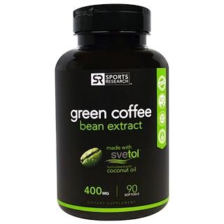 Sports Research, Extracto de granos de café verdes, 400 mg, 90 cápsulas blandas
