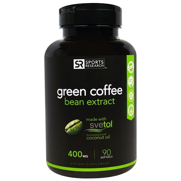 Sports Research, 綠色咖啡豆精華,400毫克,90粒軟膠囊