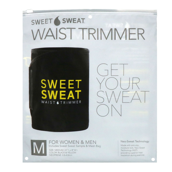Sweet Sweat Waist Trimmer, Medium, Black & Yellow, 1 Belt