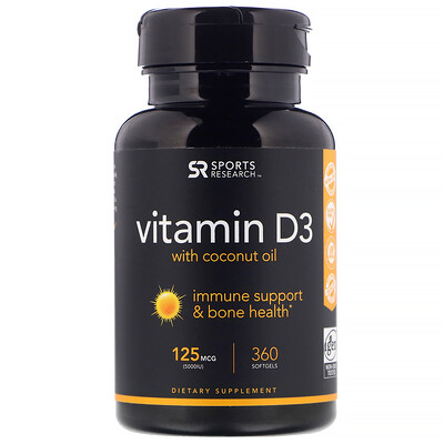 Vitamin D3 with Coconut Oil, 125 mcg (5,000 IU), 360 Softgels cal mag citrate with vitamin d3