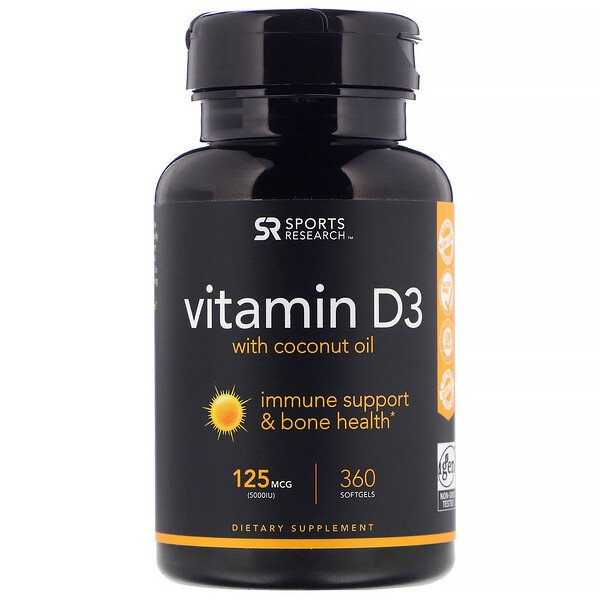 Vitamin D3 with  Coconut Oil, 125 mcg (5,000 IU), 360 Softgels