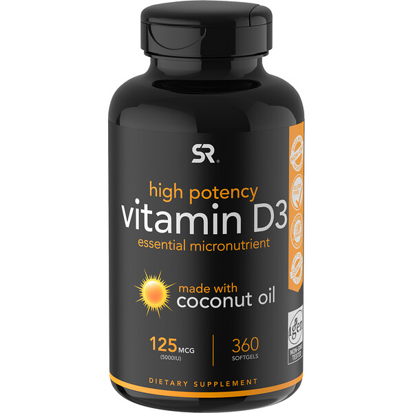 Sports Research, Vitamin D3 with  Coconut Oil, 125 mcg (5,000 IU), 360 Softgels