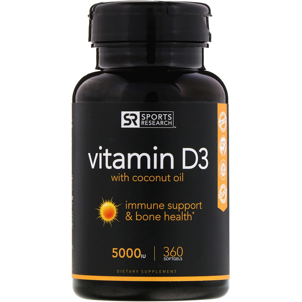 Sports Research, Vitamin D3 mit Bio-Kokosöl, 5000 IU, 360 Gelkapseln
