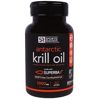 Sports Research, Óleo de Krill Antártico, 1000 mg, 60 Cápsulas Softgel