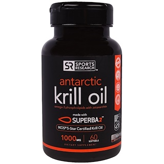 Sports Research, Antarctic Krill Oil with Astaxanthan, 1,000 mg, 60 Softgels