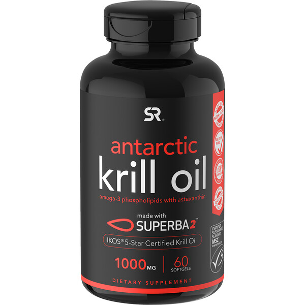 SUPERBA 2 Antarctic Krill Oil with Astaxanthin, 1,000 mg, 60 Softgels