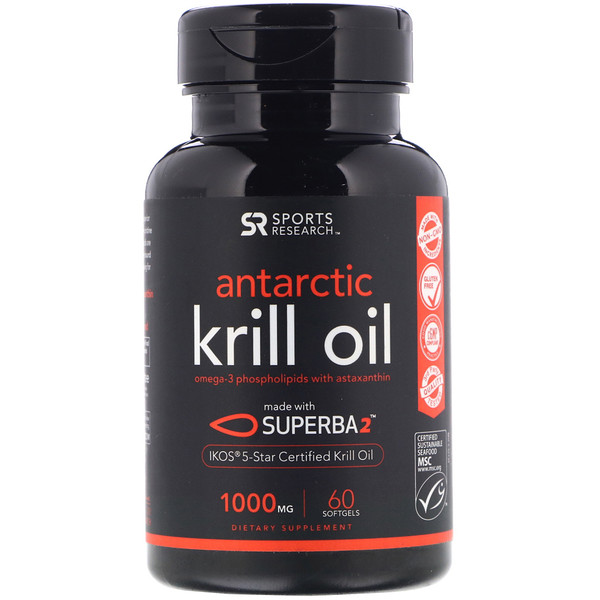 Sports Research, Aceite de krill antártico, 1000 mg, 60 cápsulas