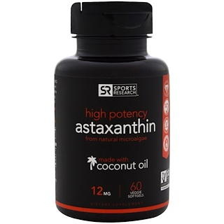 Sports Research, High Potency Astaxanthin, 12 mg, 60 Veggie Softgels