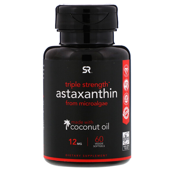 Astaxanthin Made With Coconut Oil, Triple Strength, 12 mg, 60 Veggie Softgels