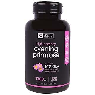 Sports Research, Evening Primrose, 1300 mg , 120 Softgels