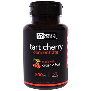 Sports Research, Concentrado de cereza agria, 800 mg, 60 cápsulas blandas