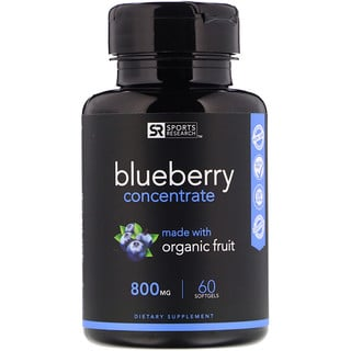Sports Research, Blueberry Concentrate, 800 mg, 60 Softgels