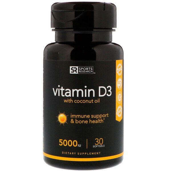Vitamin D3 with Coconut Oil, 125 mcg (5,000 IU), 30 Softgels