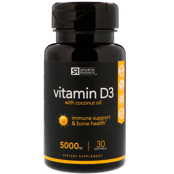 Sports Research, Vitamin D3 with Coconut Oil, 125 mcg (5,000 IU), 30 Softgels
