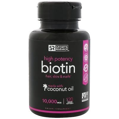 Фото - Биотин с кокосовым маслом, 10000мкг, 120растительных мягких таблеток расслабление и сон 60 растительных таблеток