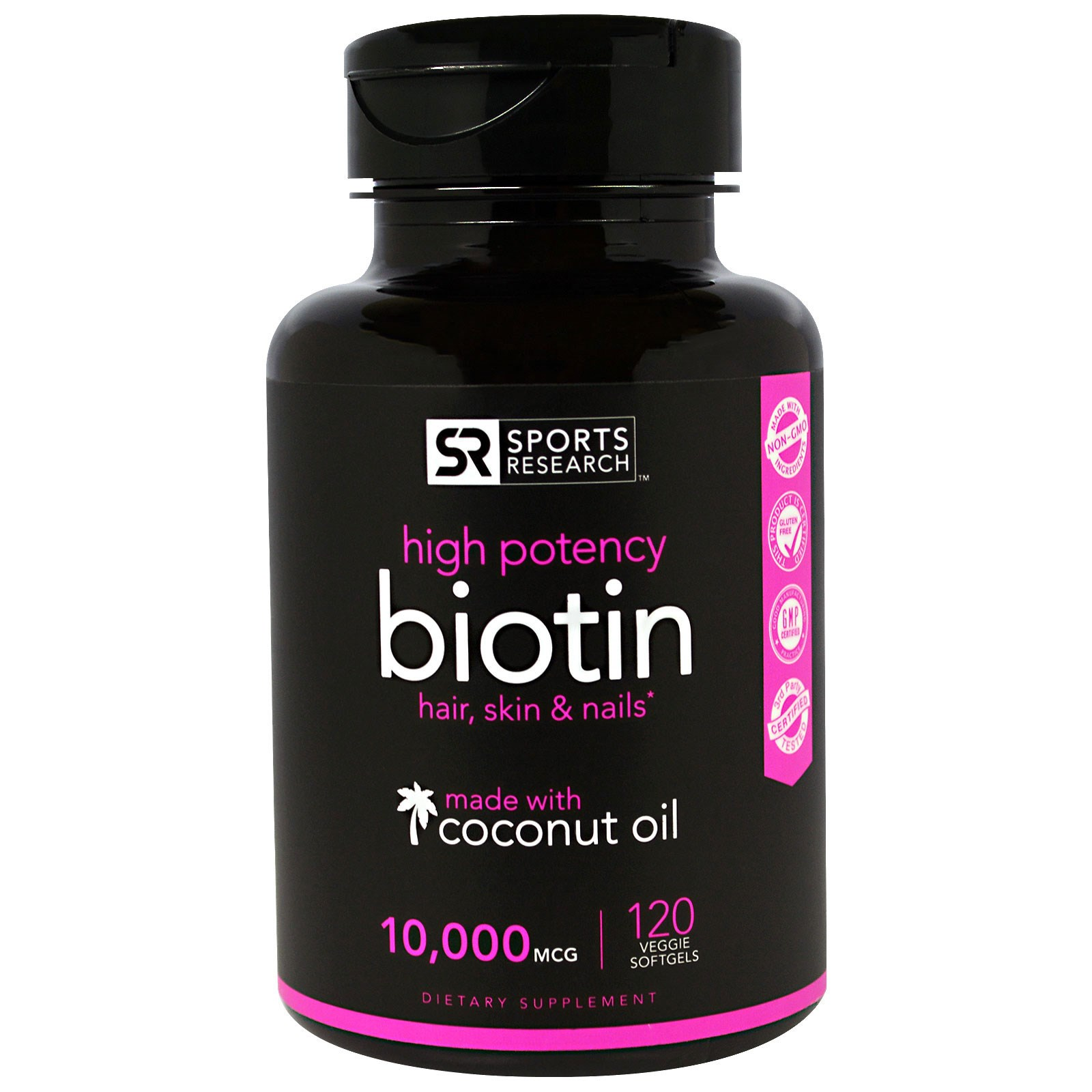 Sports Research, Biotin 10,000mcg in Organic Coconut Oil- 120 Veggie Softgels