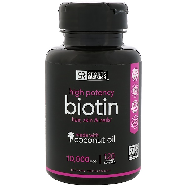 Sports Research, Biotin with Organic Coconut Oil, 10,000 mcg, 120 Veggie Softgels