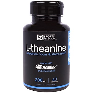 Sports Research, L-théanine, 200 mg, 60 gélules souples