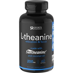 Спортс Ресерч, L-theanine, 200 mg, 60 Softgels отзывы покупателей