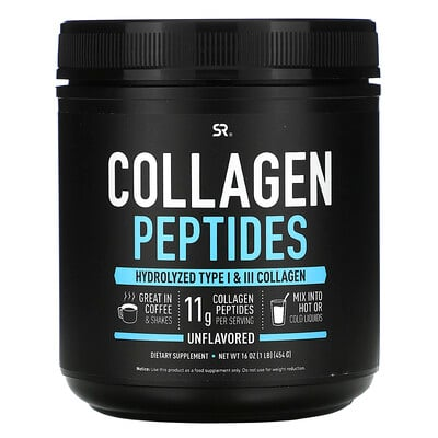 Sports Research пептиды коллагена, без вкусовых добавок, 454г (16унций)
