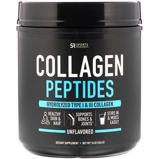 Sports Research, Peptídeos de Colágeno, sem sabor, 16 oz (454 g)