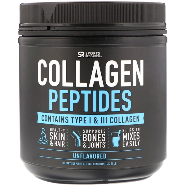 Sports Research, Collagen Peptides, Type I & III, Unflavored, 16 oz