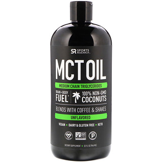 Sports Research, Aceite de MCT, sin sabor, 32 fl. Oz (946 ml)