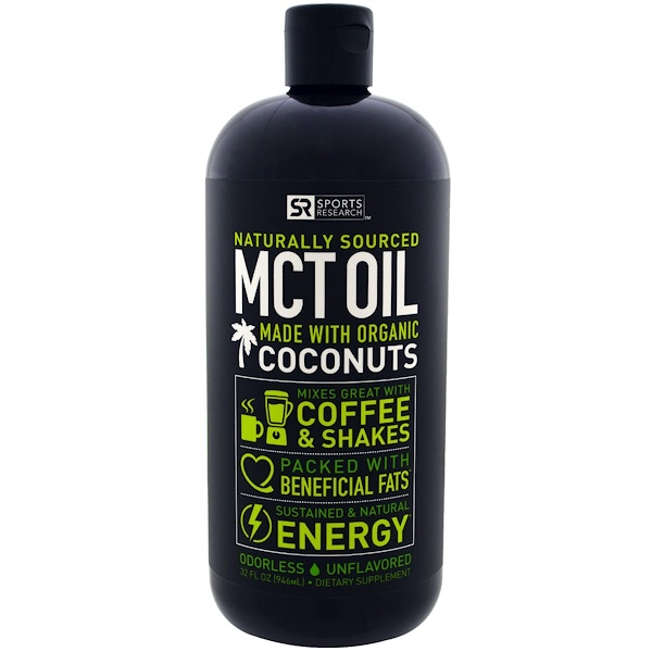 Sports Research, MCT Oil from Non-GMO Coconuts, Unflavored, 32 fl oz (946 ml)