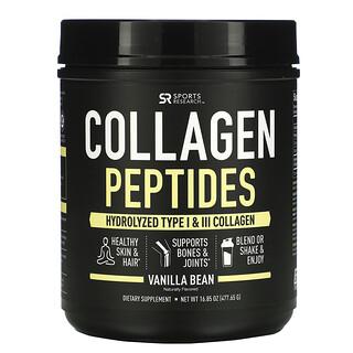 Sports Research, ببتيدات الكولاجين، كولاجين متحلل من النوعين الأول والثالث، فول الفانيلا، 16.85 أونصة (477.65 جم)