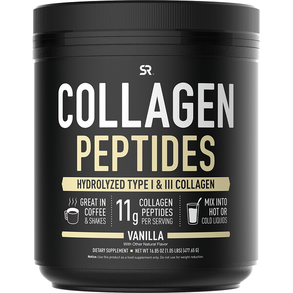 Collagen Peptides, Hydrolyzed Type I & III Collagen, Vanilla Bean, 16.89 oz (478.88 g)