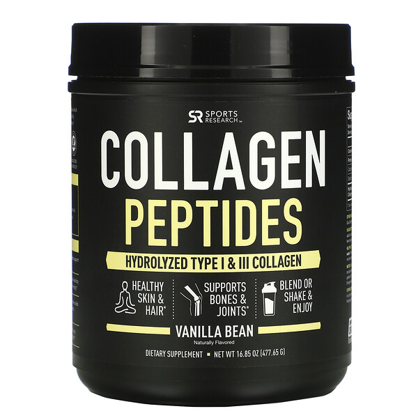 Sports Research, Collagen Peptides, Hydrolyzed Type I & III Collagen, Vanilla Bean, 16.89 oz (478.88 g)