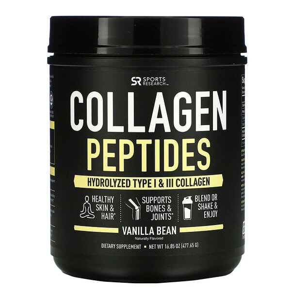 Sports Research, Collagen Peptides, Hydrolyzed Type I & III Collagen, Vanilla Bean, 16.85 oz (477.65 g)