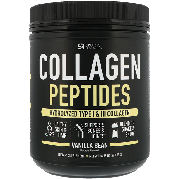 Sports Research, Kollagenpeptide, hydrolisiertes Kollagen vom Typ I und III, Vanilleschote, 16,89 oz (478,88 g)