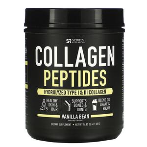 Спортс Ресерч, Collagen Peptides, Hydrolyzed Type I & III Collagen, Vanilla Bean, 16.85 oz (477.65 g) отзывы покупателей