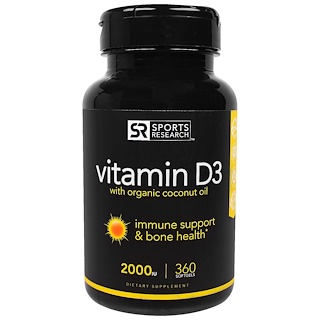 Sports Research, Vitamin D3 With Organic Coconut Oil, 2000 IU, 360 Softgels