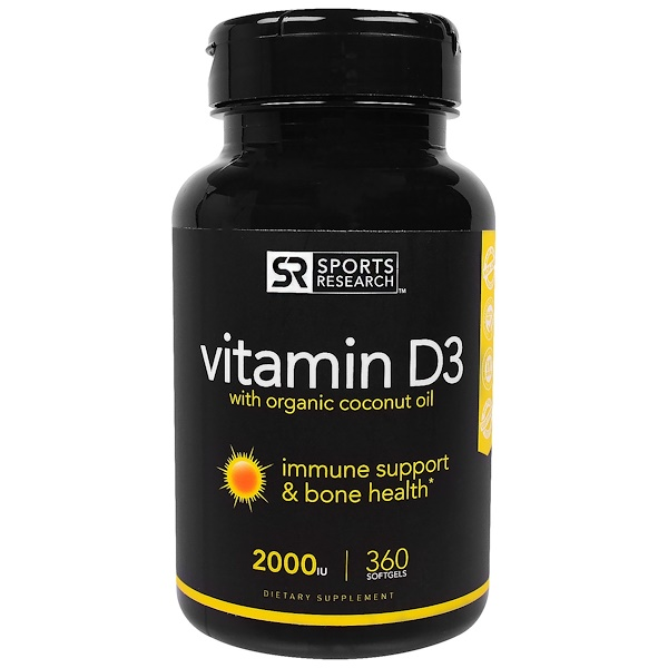 Sports Research, Vitamin D3 With Organic Coconut Oil, 2000 IU, 360 Softgels (Discontinued Item)