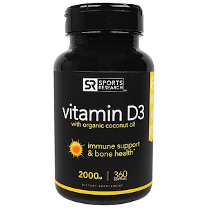 Спортс Ресерч, Vitamin D3 With Organic Coconut Oil, 2000 IU, 360 Softgels отзывы