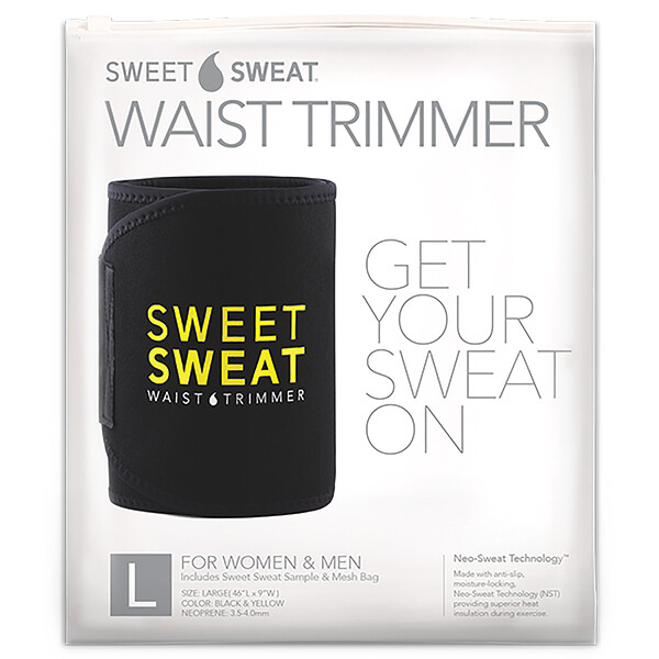Sweet Sweat Waist Trimmer, Large, Black & Yellow, 1 Belt