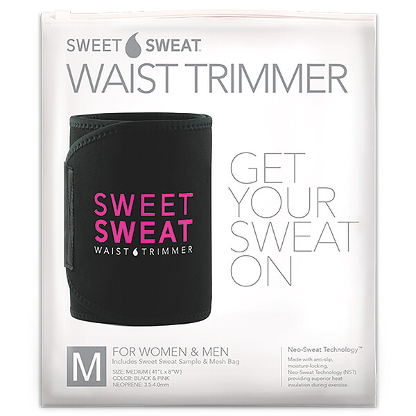 Sports Research, Sweet Sweat Waist Trimmer, Medium, Black & Pink, 1 Belt
