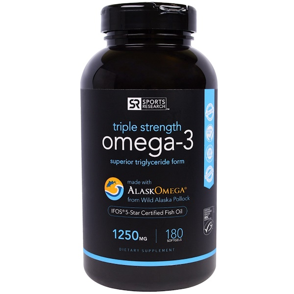 Sports Research, Omega-3 Fish Oil, Triple Strength, 1250 mg, 180 Softgels