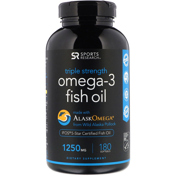 Omega-3 Fish Oil, Triple Strength, 1,250 mg, 180 Softgels