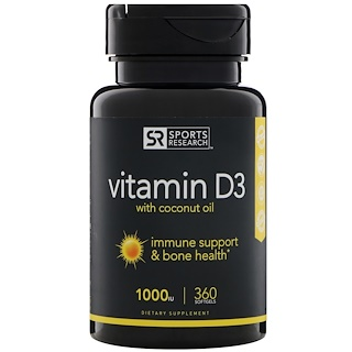 Sports Research, Vitamin D3 with Coconut Oil, 1000 IU, 360 Softgels