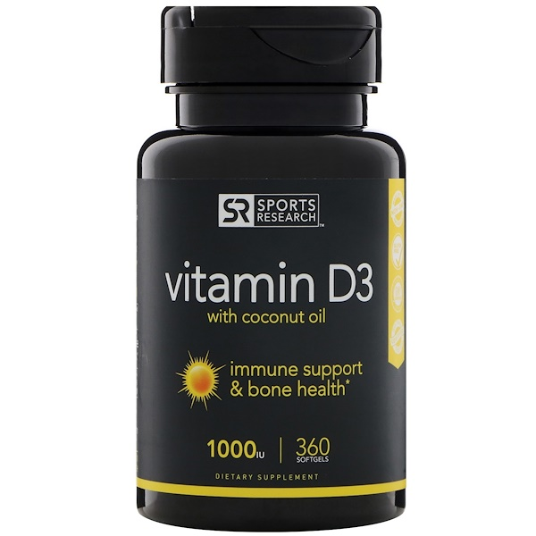 Sports Research, Vitamin D3 with Coconut Oil, 1000 IU, 360 Softgels (Discontinued Item)