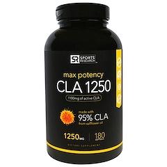 Sports Research, 공액 리놀레산 1250, 맥스 포텐시, 1250 mg, 180 소프트젤