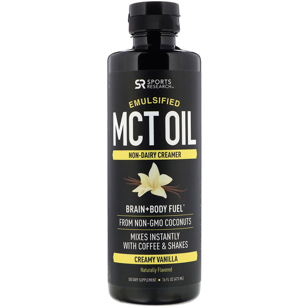 Sports Research, Emulsified MCT Oil, Creamy Vanilla, 16 fl oz (473 ml) (Discontinued Item)